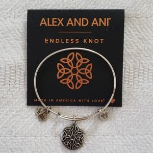 Alex and Ani Silver Tone Knot Bracelet with Card